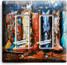 TEXAS COUNTRY WESTERN RUSTIC COWBOY BOOTS 2 GFCI LIGHT SWITCH WALL PLATE... - $12.99