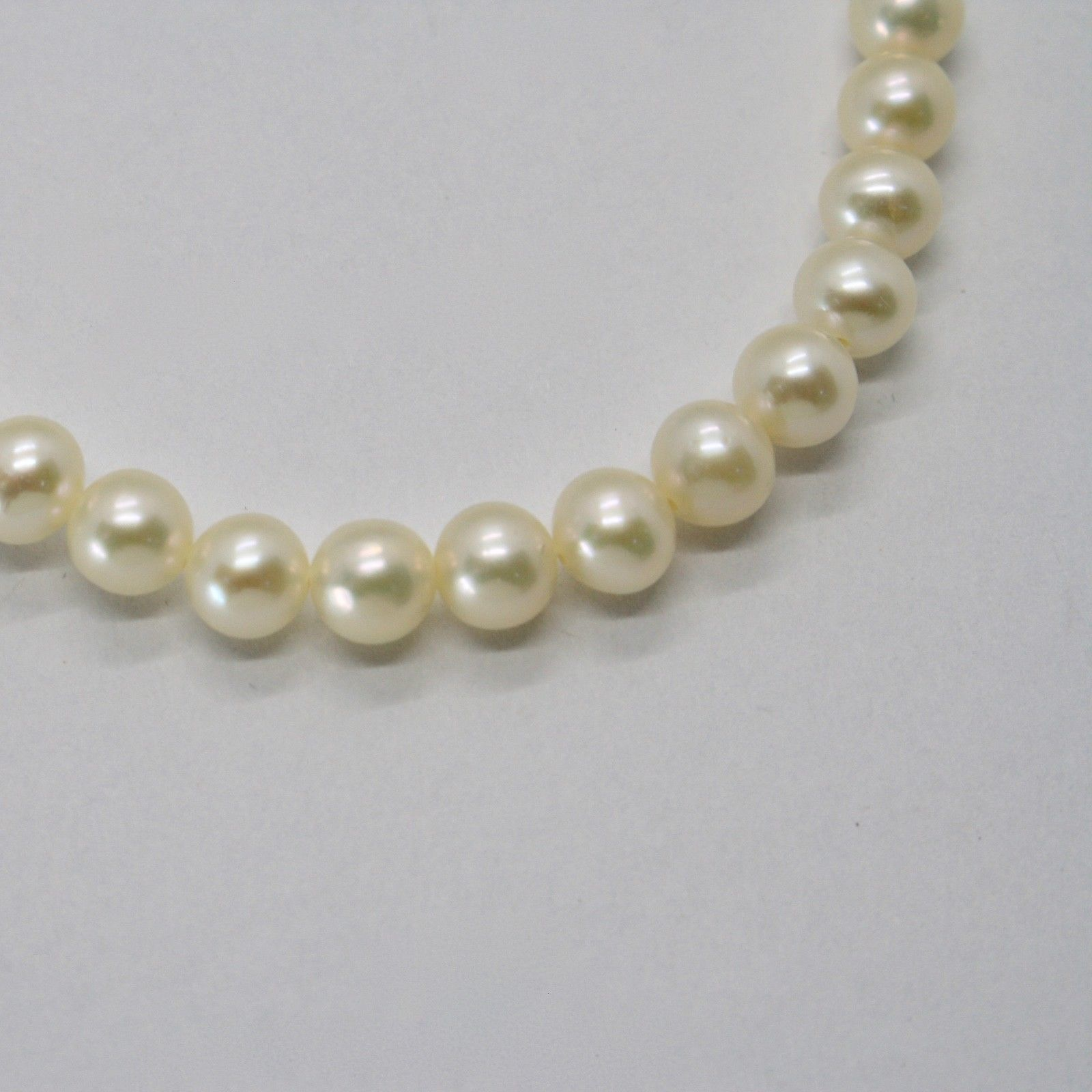 White Gold Bracelet 18KT and Silver 925 with Pearls 5.5 6 mm Beautiful Box