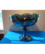 Indiana Glass blue Iridescent carnival glass compote. - $15.00