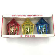 Jewelbrite Lantern Christmas Tree Ornaments 3 Vintage in Box Red Yellow ... - $19.59