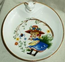 Limoges Porcelain Baby Food Warming Dish & Stopper Little Miss Muffet Fr... - $23.02