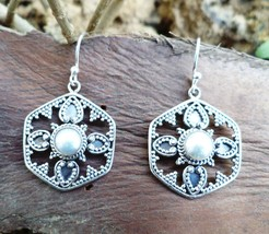 Earring Jhumka Natural White Pearl 925 Sterling Silver Handmade 88 - $21.49