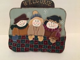 Winter Wall Decoration Welcome Snowman 2 Snow Women  Ribbon Wood Holidays - $14.84