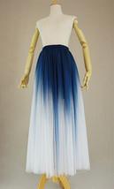 Women Blue White Dye Tulle Skirt A-line Tie Dye Long Tulle Skirt Evening Skirts  image 7