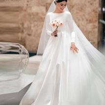 Simple Vintage White Ivory A-line Long Sleeves Royal Satin Castle Bridal Gown