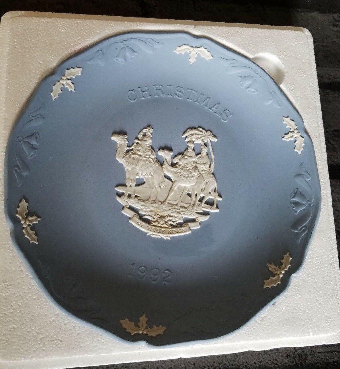 "Wedgwood Blue Jasperware Christmas 3 Kings 1992 Collectible Plate  7.25"" - $15.00"