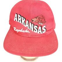Arkansas Razorbacks NCAA SnapBack Red Hat Cap Flat Bill Made In USA - $22.24