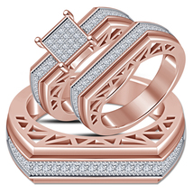 Men's & Women's Engagement Ring Trio Set Round Cut White CZ 14k Rose Gol... - $163.99