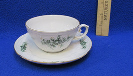 Tea Cup & Saucer Seltmann Weiden Green Rose on White Bavaria W Germany P... - $15.83