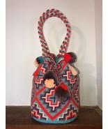 Authentic 100% Wayuu Mochila Colombian bag Large short strap pom Bright ... - $90.00