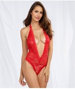 Dreamgirl RED Lace Halter Teddy, One Size Fits Most - $13.37