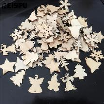 Christmas Decorations For Home 50Pcs/Lot Natural Wood Christmas Ornaments - $2.40