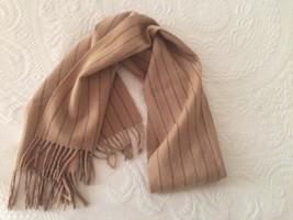 V. FRAAS Striped Brown and Black Striped Scarf Wool Cashmere Fringe - $22.76