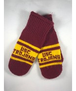 Vintage USC Trojans Red and Gold Knit Wool Winter Mittens Gloves - $23.25