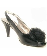 Bandolino black Patent Finish open toe sling Black flower over toe Box (... - $4.99