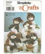 "Simplicity 4845 Stuffed 16"" Snowmen Pattern Hats Scarves Straw Stockings... - $8.81"