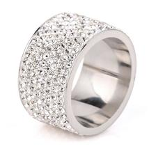 New Trendy 8 Row White Crystal Rings For Women Rhinestone Stainless Stee... - $14.39