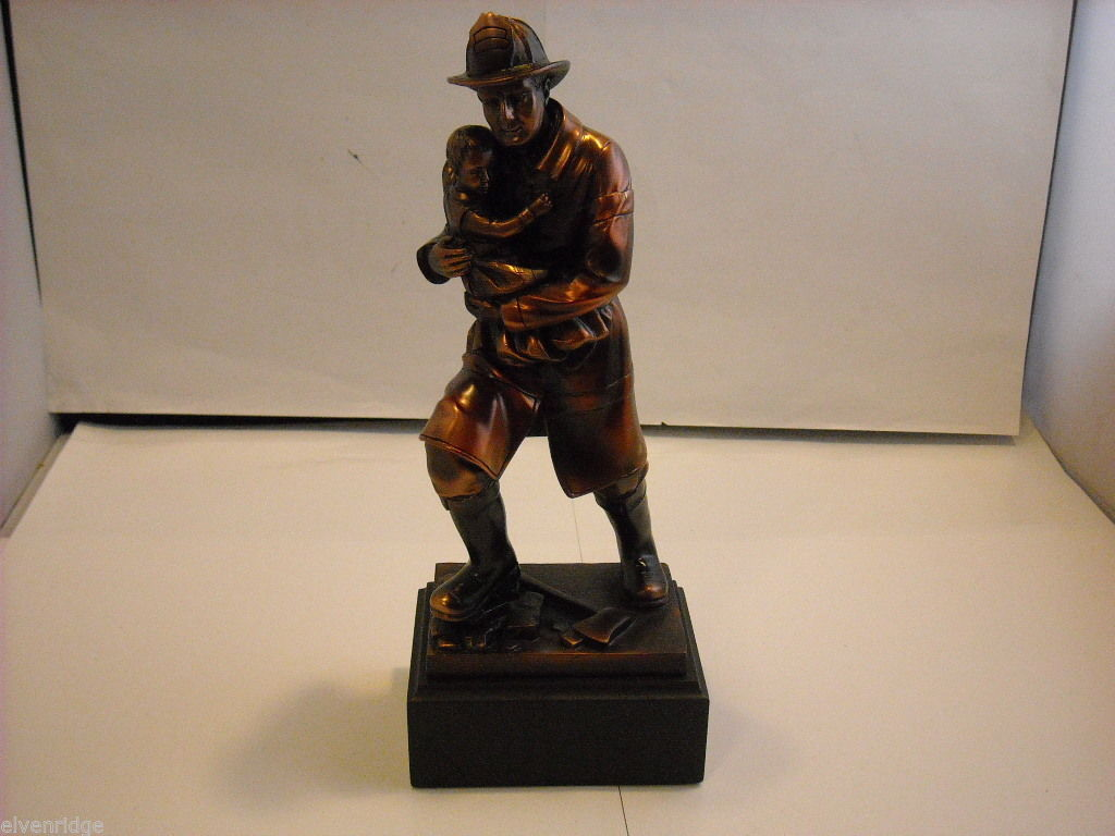 Fireman Carrying Child Bronzed Statuette