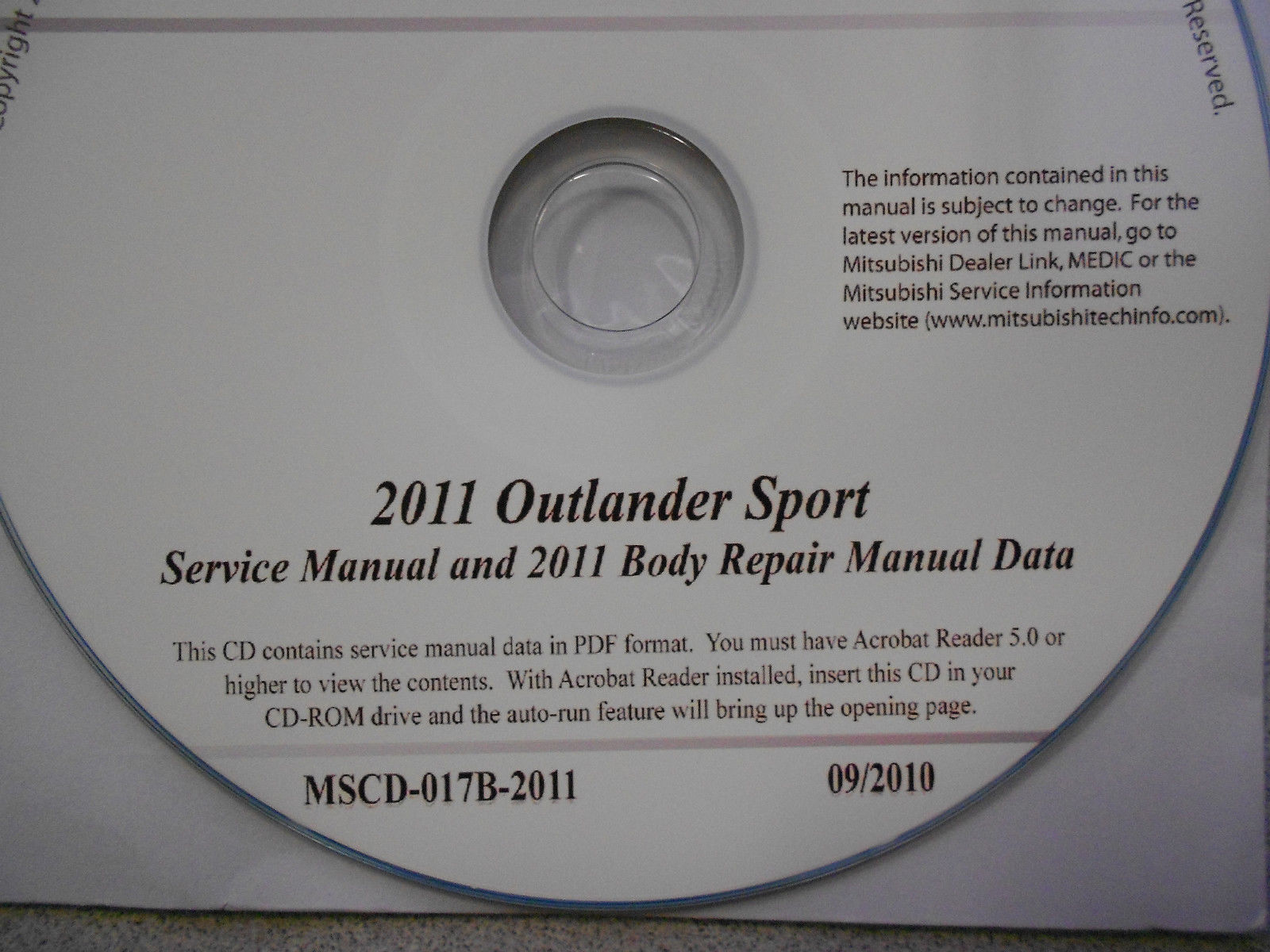 2011 MITSUBISHI OUTLANDER SPORT Service Repair Manual CD FACTORY BRAND NEW