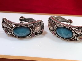 Fashion Jewelry Silver Rhinestones Blue Facet Stone Clip On Earrings Unique - $4.20