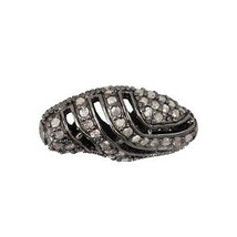 925 Sterling Silver 1.10Ct Diamond Studded Spacer Bead Finding Handmade ... - $191.68