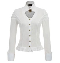 Steampunk Victorian Blouse Button Up Fitted with Ruffled Hem - $37.99