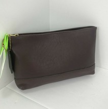 Coach Cosmetic Bag  Pouch Wallet Vintage USA Dark Brown Soft Leather Zip Top M5 - $137.19