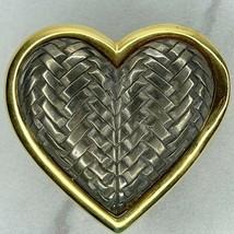 Vintage Gold Silver Tone Crosshatch Heart Belt Buckle - $12.59