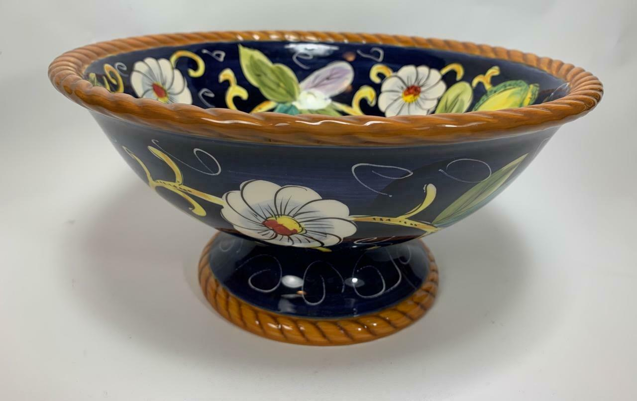 "Footed Serving Bowl Tabletops Unlimited Village Bellagio Ceramica Classica 11"" - $34.56"