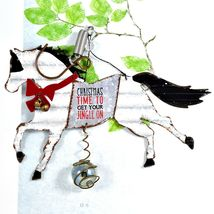 """""""Christmas Time to Get Your Jingle On"""" Holiday Horse Bouncy Garden Hanging Sign image 3"""