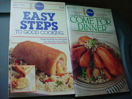 PILLSBURY EASY STEPS, COME FOR DINNER COOKBOOKS LOT OF 2 FREE USA SHIP - $9.49