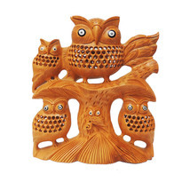 Handmade Wood Owl Family Owl Carving Sculpture on Tree Height 6 Inches - $80.00