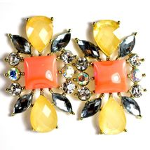 """Mode Cream & Pink Shourouk Style Look Lucite 1.75"""" Drop Dangle Post Earrings image 4"""