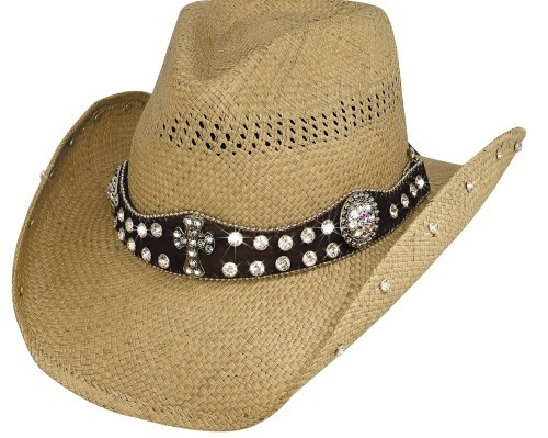 Primary image for Bullhide More Than Words Panama Straw Cowgirl Hat Scalloped Leather Band Pecan