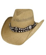Bullhide More Than Words Panama Straw Cowgirl Hat Scalloped Leather Band... - £65.22 GBP