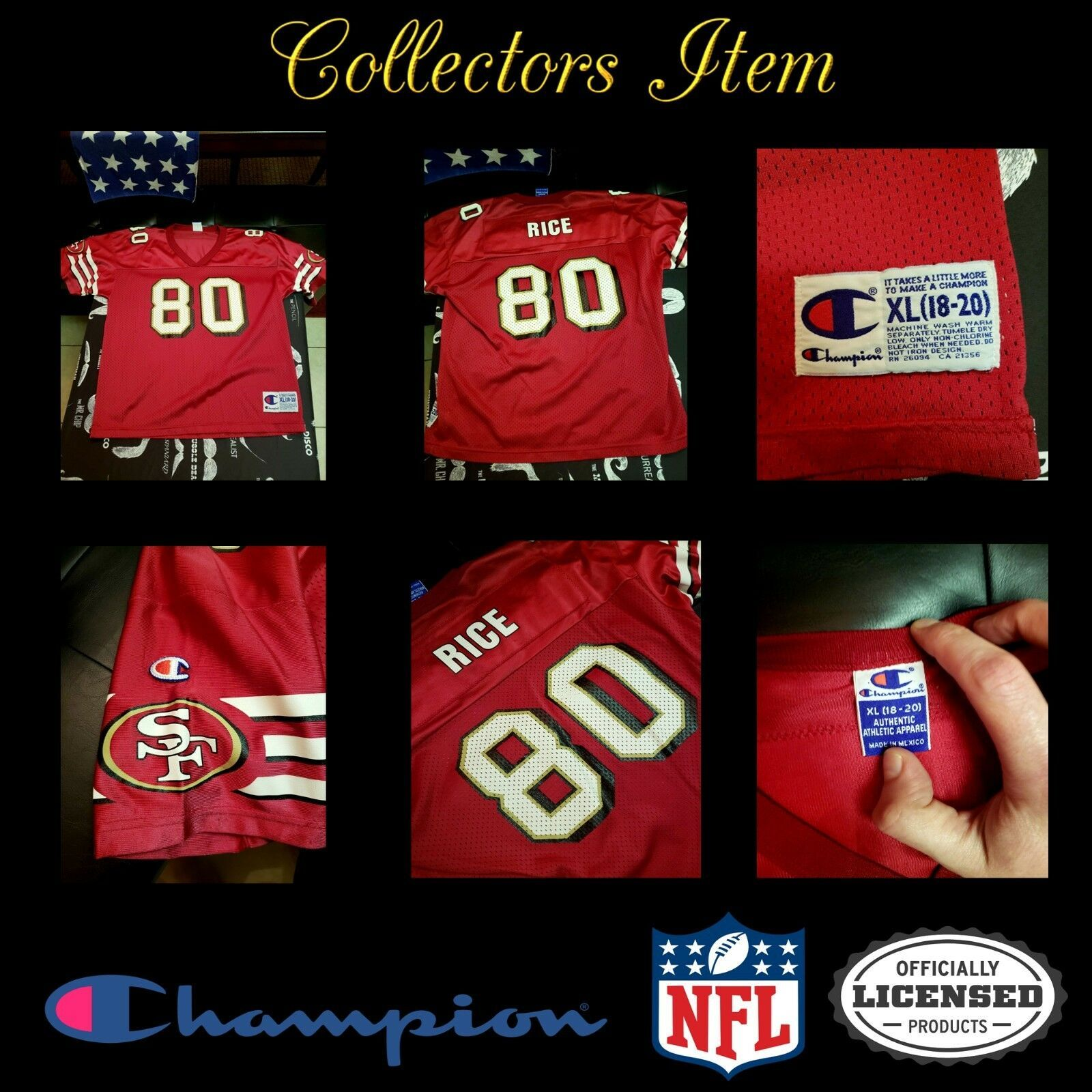 Primary image for *RARE*Jerry Rice #80 San Francisco 49ers NFL Champion Jersey YouthXL Collectors
