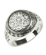 Authentic 925 Sterling Silver Jewelry Vintage Buddha Six Words' Mantra R... - $43.38