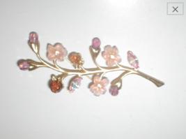 Vintage Crystal & Rhinestone Magnolia Blossoms Brooch Pin AVON - $21.73