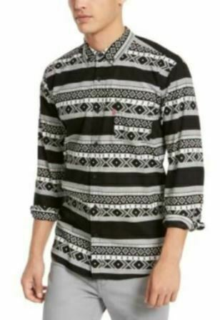 Levi's Men's Collared Long Sleeve Norte Regular-Fit Geo-Stripe Shirt (Gray, XL)
