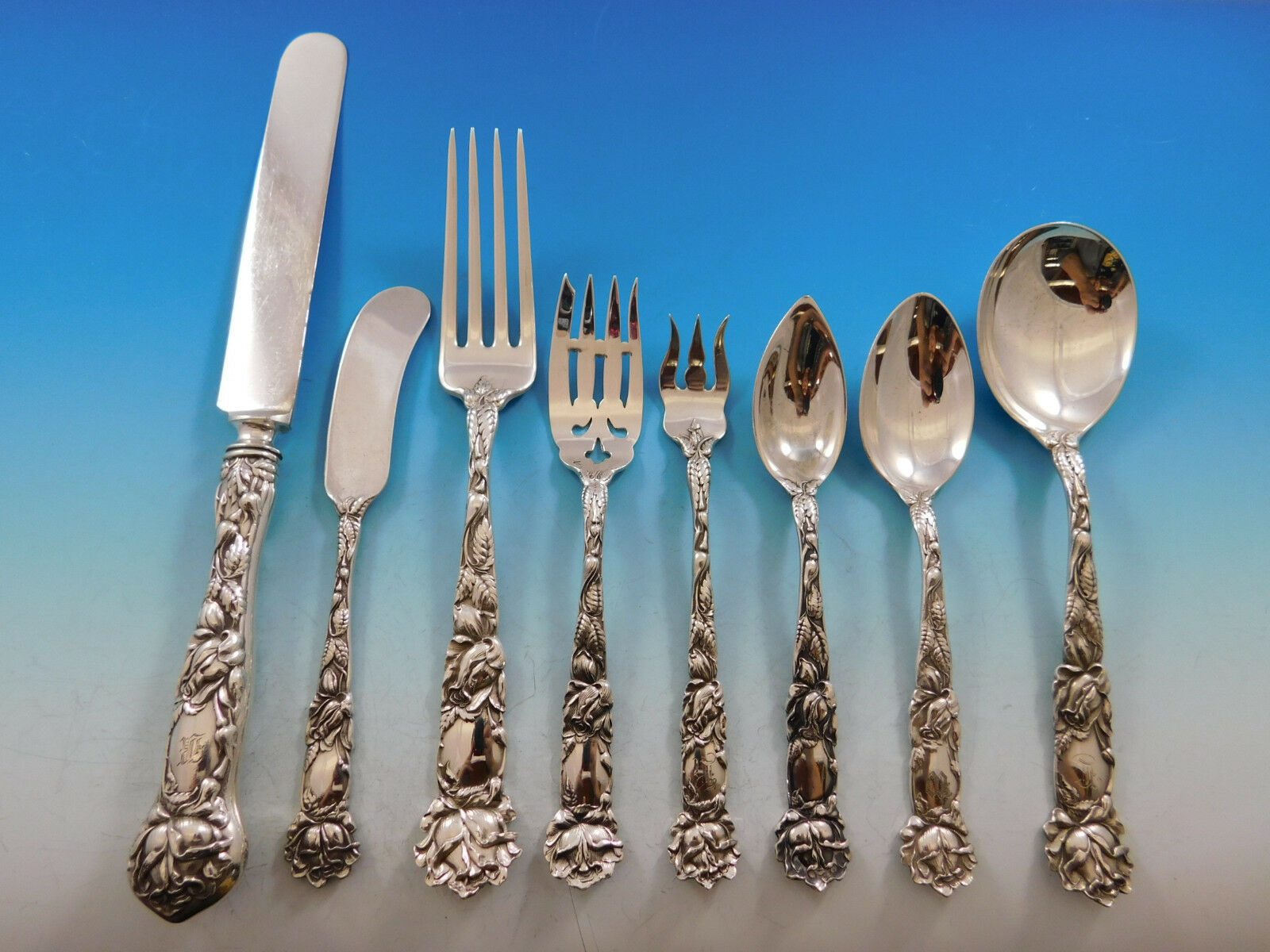 Primary image for Bridal Rose by Alvin Sterling Silver Flatware Set Service 98 Pieces Dinner Size