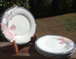 4 Noritake Cafe Du Soir 9091 Salad Plates New Decade Pink & Purple Flowe... - $14.50