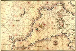 Portolan or Navigational Map of the Western Mediterranean from Gibraltar to Pied - $19.99+