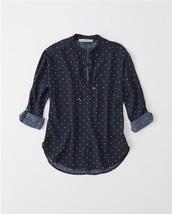 Abercrombie Women Blouse Shirt M L Navy Blue Geometric Print Neck Tie Long New - $34.95
