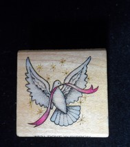 Comotion Rubber Stamp Dove with Ribbon Vintage #831 Mounted  - $8.50