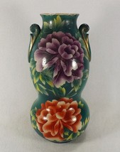 Antique Asian Pottery Vase Hand Painted Large Flowers Dual Sided Floral ... - $85.22