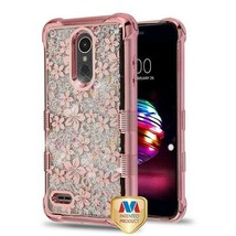 Hibiscus Flower/Silver Flowing Sparkles TUFF Hybrid Cover for LG K30/Pre... - $11.39