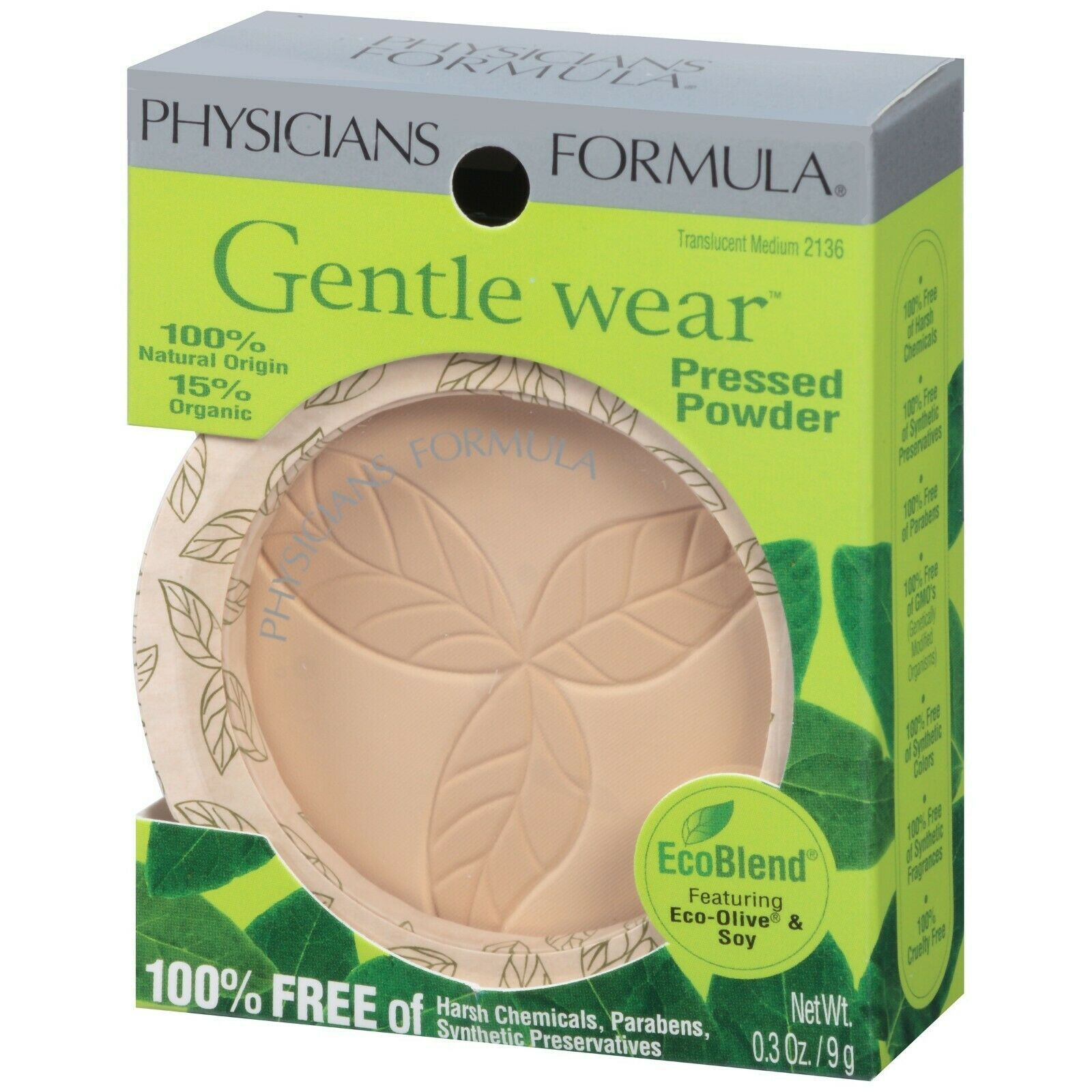 Physicians Formula Gentle Wear 100% Natural Organic Origin Pressed Powder, Trans - $17.81