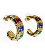 Swarovski Crystal Multi-Color  Pierced Earrings Swan Signed Gold Tone Metal - $24.20