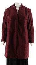 H Halston Knee Length Snap Front Coat Notch Collar Bordeaux 4 NEW A296756 - $63.34