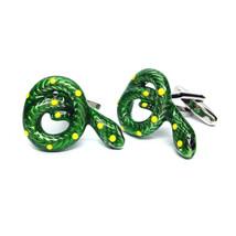 Green Coiled Snake Cufflinks  design in gift box